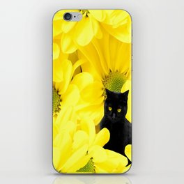 Black Cat Yellow Flowers Spring Mood #decor #society6 #buyart iPhone Skin