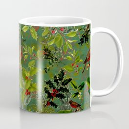 Christmas Pattern with Green Background Coffee Mug