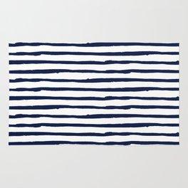 Navy Blue Stripes on White Rug