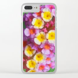 Small Yellow Pink and Purple Tropical Flowers Clear iPhone Case