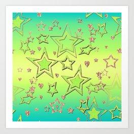 Bright green , neon , stars , lime ,yellow #Christmas #newyear Art Print