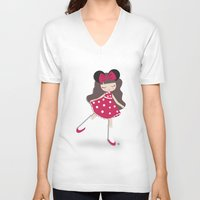 minnie V-neck T-shirts featuring minnie love by made by kale