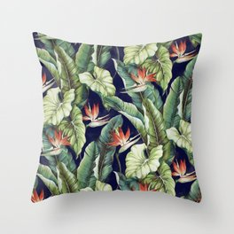 Night tropical garden II Throw Pillow