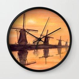Windmills Sunset in Kinderdijk Holland Wall Clock