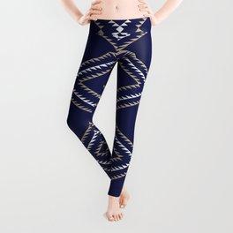 Navajo Pattern - Tan / White / Navy Leggings