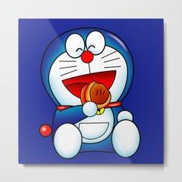 Doraemon eat Dorayaki Metal Print