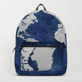 Dark blue watercolor and grey world map Backpack