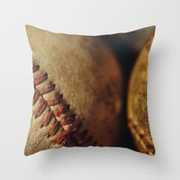 baseball Throw Pillows featuring Baseball by Chee Sim