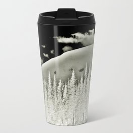 Abstract Dragon Clouds over Textured Mountain Forest Travel Mug