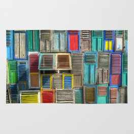 Colorful Shutters Beach Building Rug