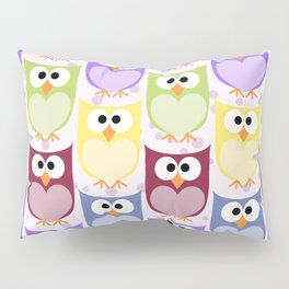 Colorful Owls - Green Blue Purple Yellow Pillow Sham
