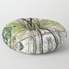RAINY SPRING DAY AT THE DOCK IN THE WOODS Floor Pillow