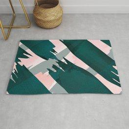 Artsy Modern Emerald Green Pink Brushstrokes Pattern Rug