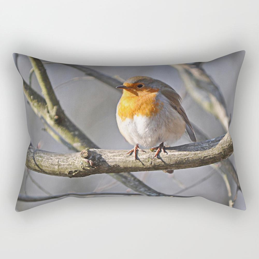 Fluffy Robin Redbreast Rectangular Pillow (RPW915575) photo