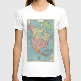 Vintage Map of North America (1903) T-shirt