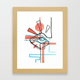 Abstract Open Eye Red and Blue Line Drawing Framed Art Print