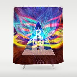 Rainbow Rays 7 Chakra Healing Meditation Shower Curtain