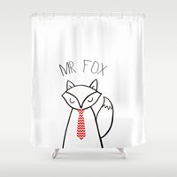mr fox Shower Curtains featuring MR FOX by Hayley Michelle