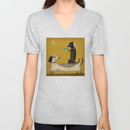 DACHSHUND FRIENDS 2 Unisex V-Neck