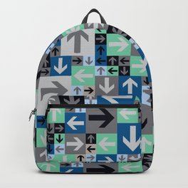 Arrow Pattern Blue Green Gray Backpack