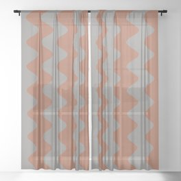 Cavern Clay SW 7701 and Slate Violet Gray SW9155 Wavy Vertical Rippled Stripes Sheer Curtain