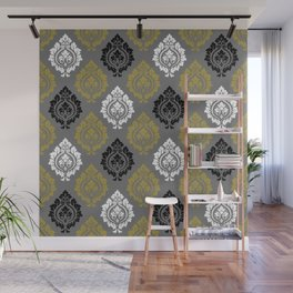 Decorative Damask Pattern BW Gray Gold Wall Mural