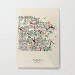 Colorful City Maps: Anaheim, California Metal Print