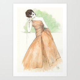 'Gillian' Watercolor Fashion Illustration Art Print