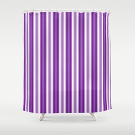 Purple and White Stripes Shower Curtain