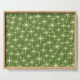Atomic Age Starbursts - Mid Century Modern Pattern in Cream and Retro Christmas Green Serving Tray