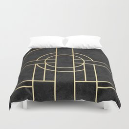Art Deco Black Marble Duvet Cover