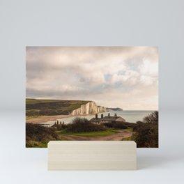 Coastguard cottages facing the Seven Sisters Mini Art Print