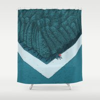 silent Shower Curtains featuring Blue Silent by Andrea Dalla Barba