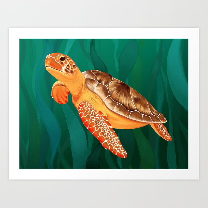 Katma the Green Sea Turtle Art Print
