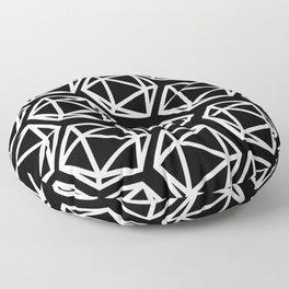D20 Pattern - White & Black Floor Pillow
