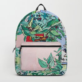 Jungle Botanical in Colorful Cans on Pink - Still Life Backpack