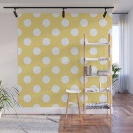 Jasmine - yellow - White Polka Dots - Pois Pattern Wall Mural