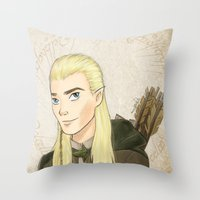 legolas Throw Pillows featuring Legolas by Joan Pons