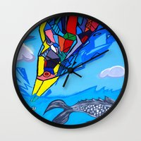 transformer Wall Clocks featuring Trippy Transformer Bird Mixed Media Painting on Canvas by VibrationsArt