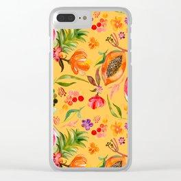 Tropical Fruit Festival in Yellow | Frutas Tropicales en Amarillo Clear iPhone Case