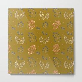 Mustard Yellow Fall Floral Metal Print