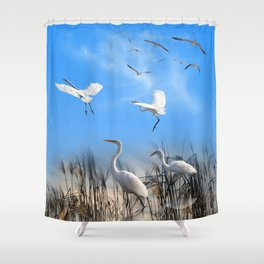 White Egrets in a Morning 1 Shower Curtain