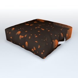 Large brown drops and petals on a dark background in nacre. Outdoor Floor Cushion