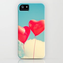 Two Heart Balloons in the Sky iPhone Case