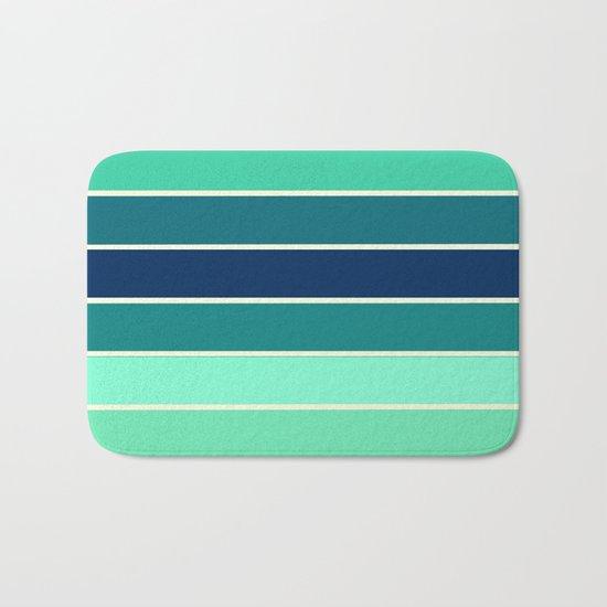 Stripes Aqua & Teal  Bath Mat
