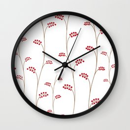 Red berries, simple pattern, vector illustration Wall Clock
