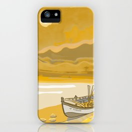 Golden Beach Boat Timeless iPhone Case