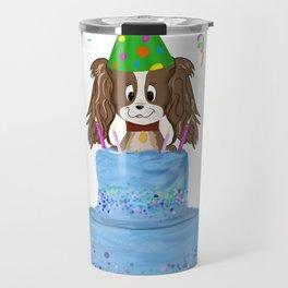 Happy Birthday With Cavalier King Charles Spaniel And Cake Travel Mug