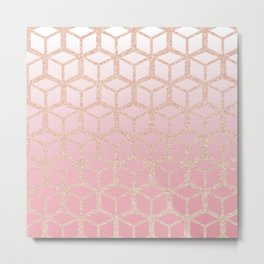mauve pink ombre with rose gold cube pattern Metal Print