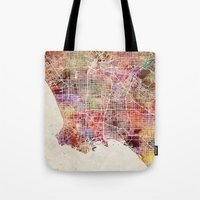 los angeles Tote Bags featuring Los angeles by MapMapMaps.Watercolors